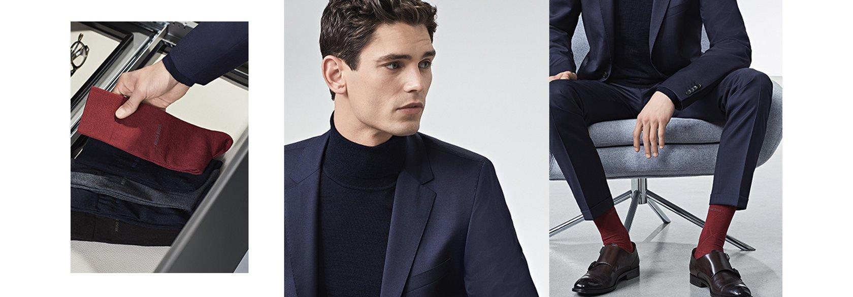 64bfd2672e741 Look de traje azul marino con calcetines con combinaciones de colores de  BOSS ...