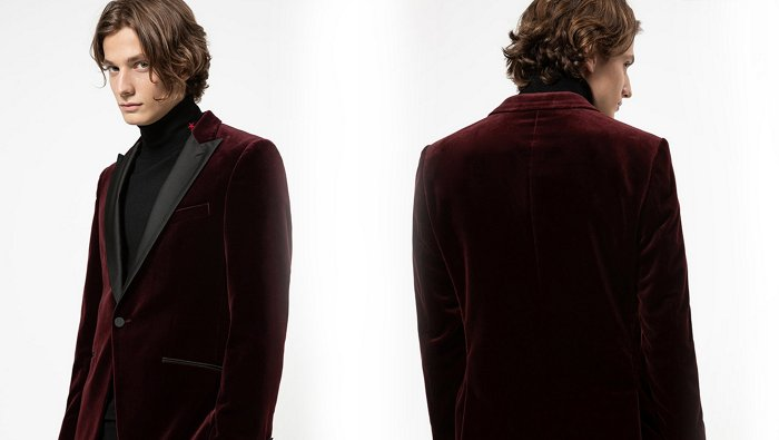 Casual velvet suit look in bordeaux for men by HUGO