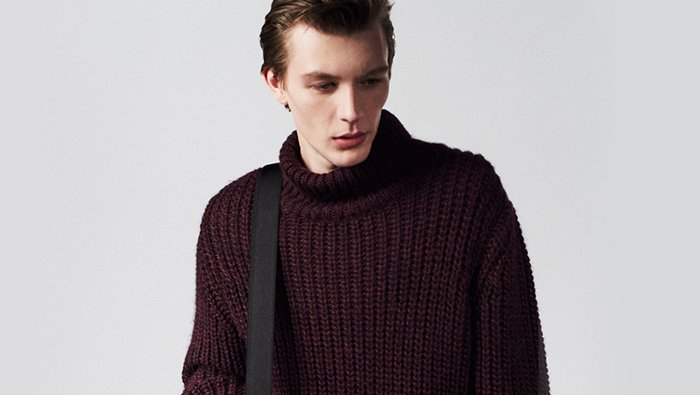 Dark purple knitwear look for men by BOSS