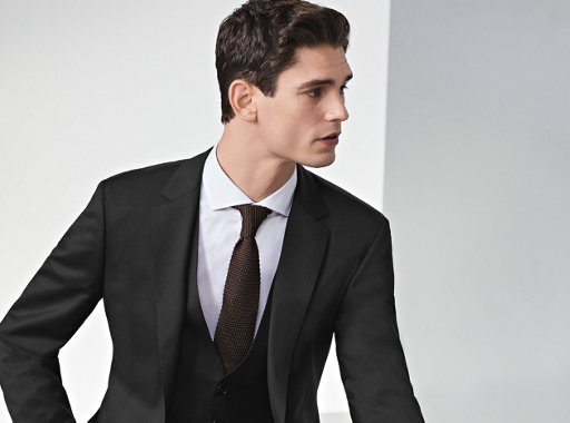 9abd1094 ... Black suit with vest and white shirt with brown tie t by BOSS