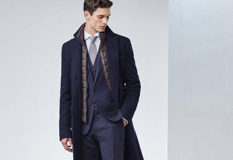 1c554ca5 ... Business wool coat in dark blue by BOSS. The single-breasted ...