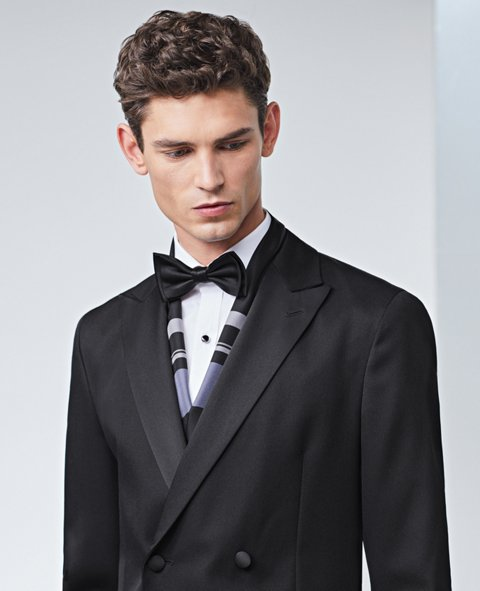 4cf418ba394 Black tuxedo with bow tie and silk scarf by BOSS ...