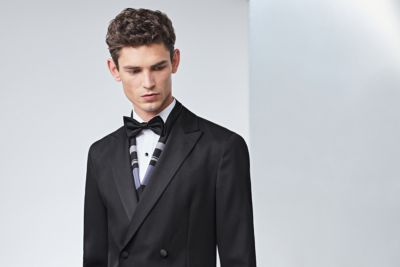 Black tuxedo with bow tie and silk scarf by BOSS