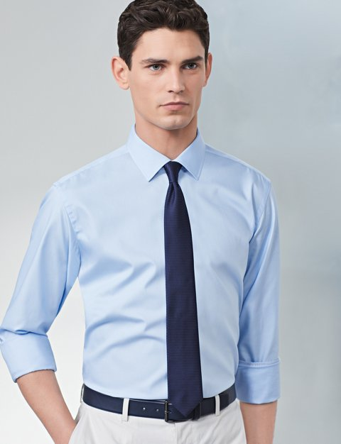 52790b27f47 Shirt with sleeves rolled up and blue tie by BOSS ...
