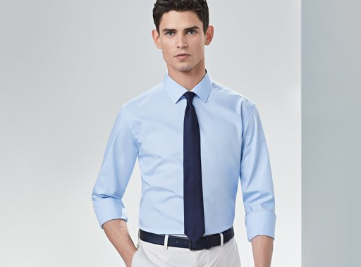 9c322e72475 ... Shirt with sleeves rolled up and blue tie by BOSS
