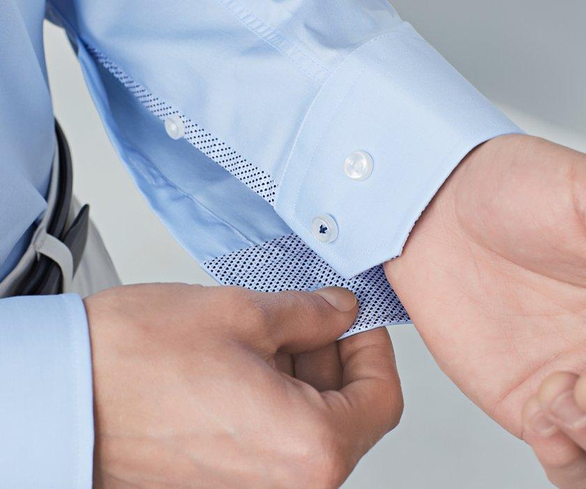 ceedbc6e92c Close up of BOSS shirt sleeve with unbuttoned cuffs ...