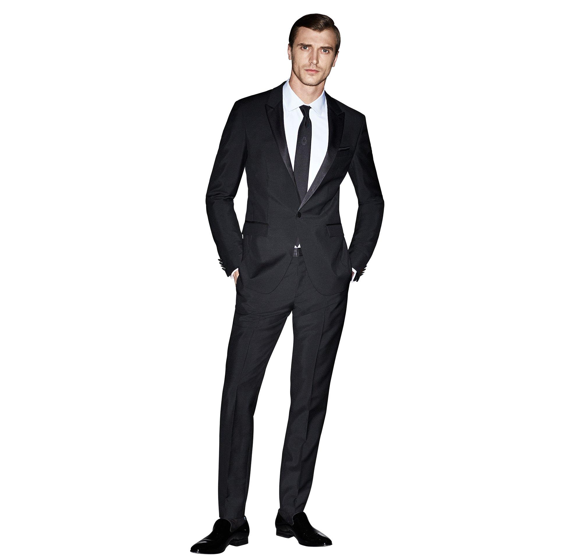 Zwart kostuum, wit overhemd en zwarte stropdas van BOSS