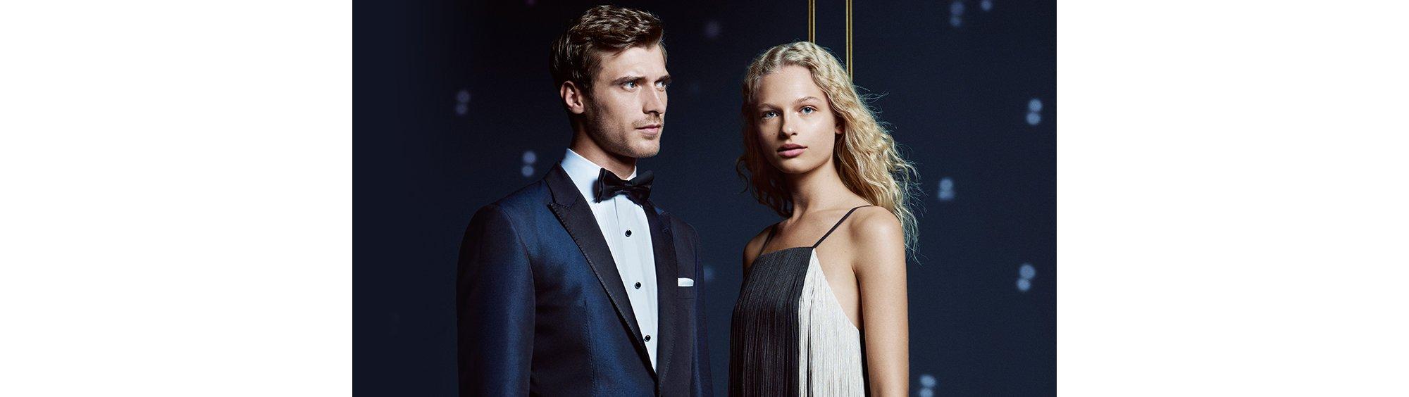 Paar in Smoking und Kleid von BOSS