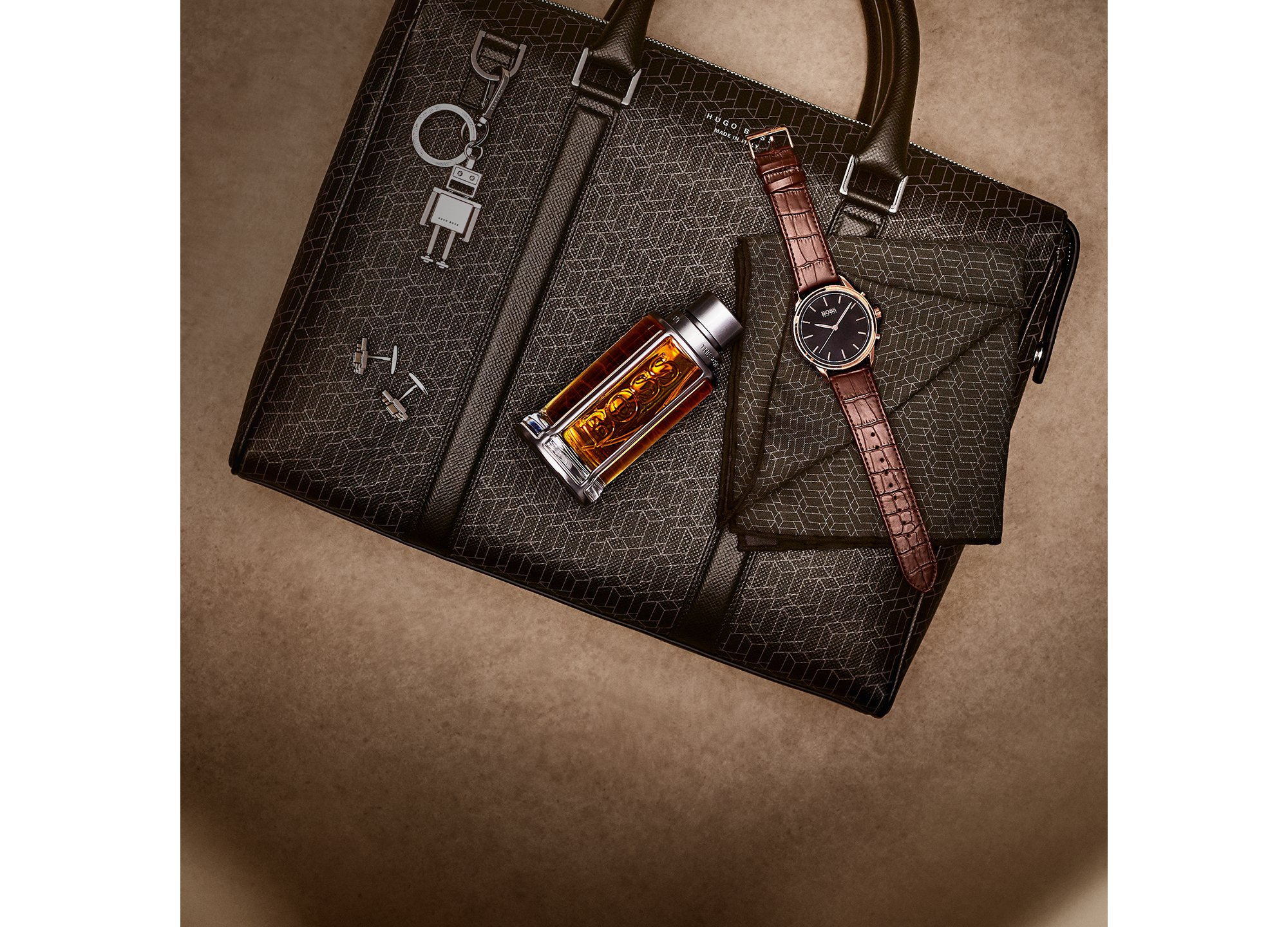 Leather bag, watch, BOSS The Scent for him by BOSS