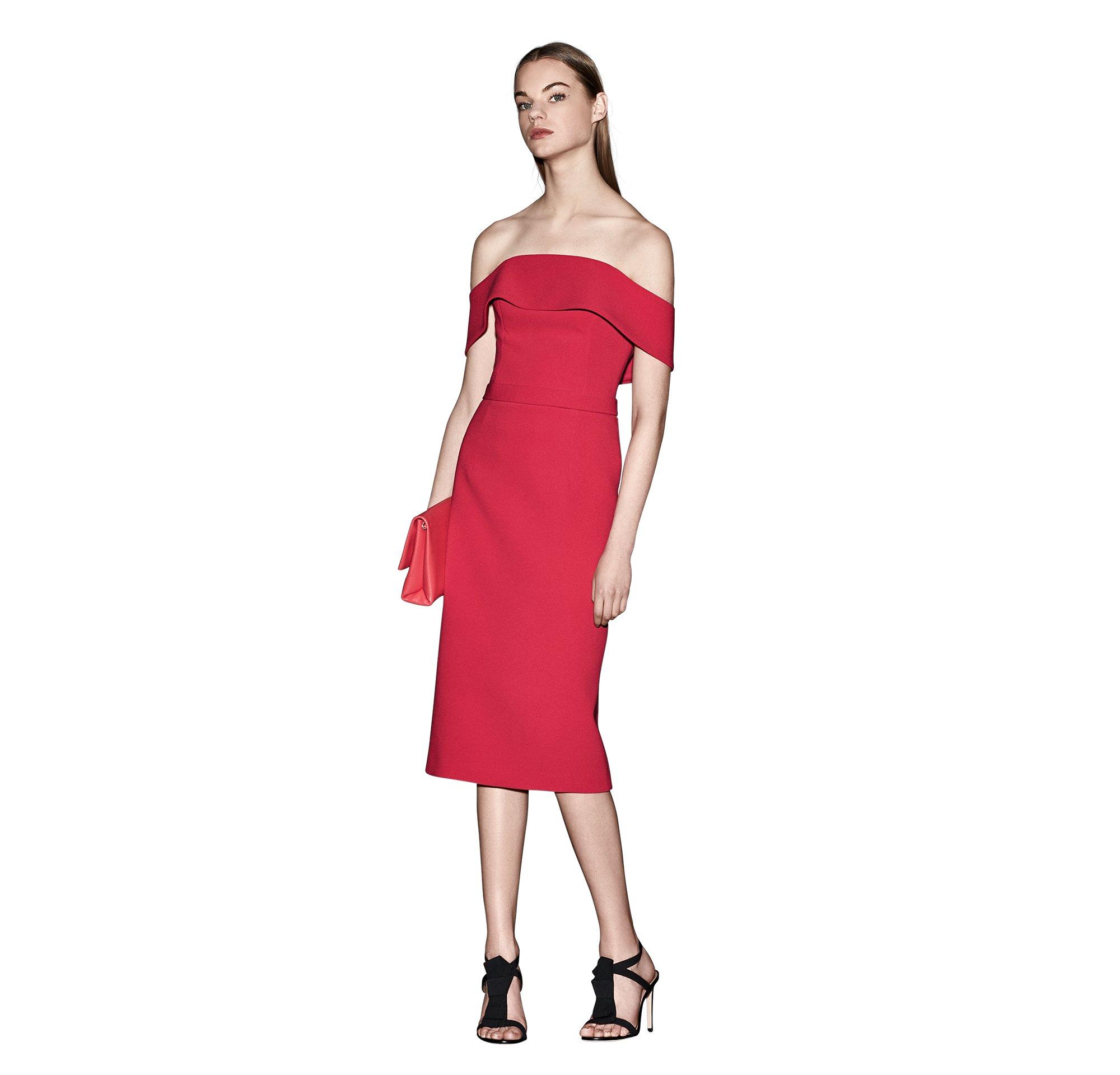 Rode jurk en tas van BOSS