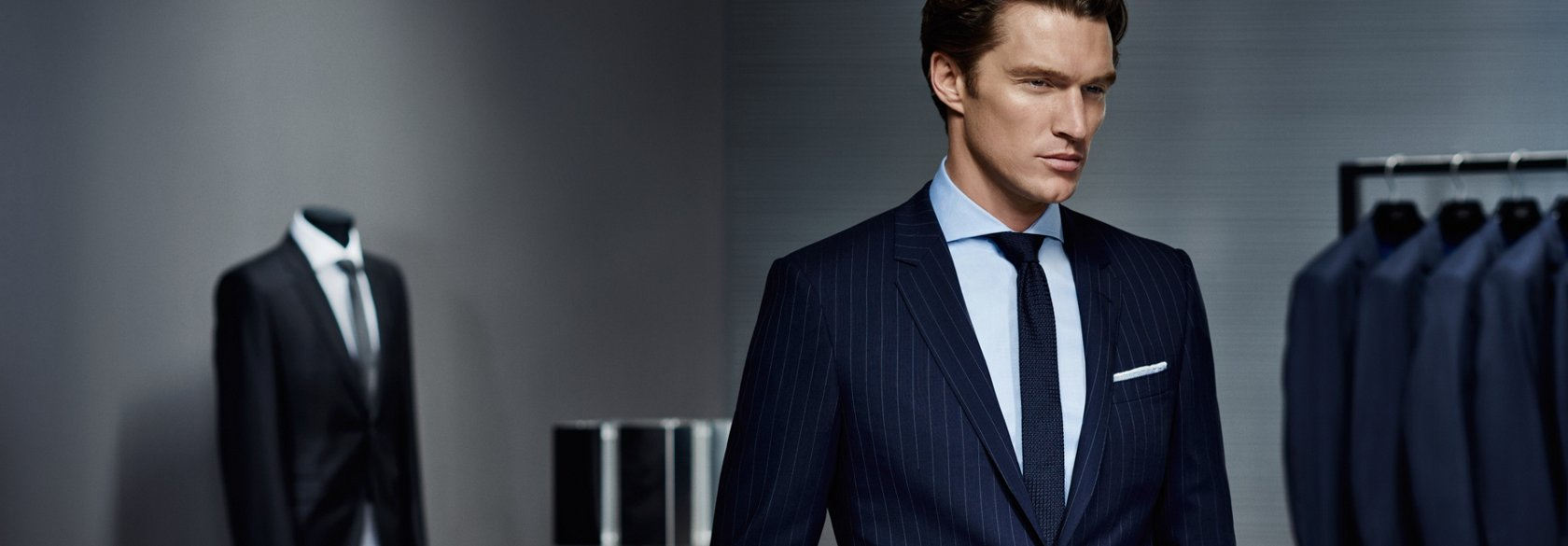 ba080ef7c Dark blue pinstriped suit, blue tie and white shirt by BOSS ...