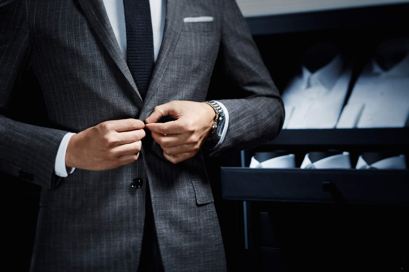 Gray Striped Suit, Black And And Silver Watch By Boss