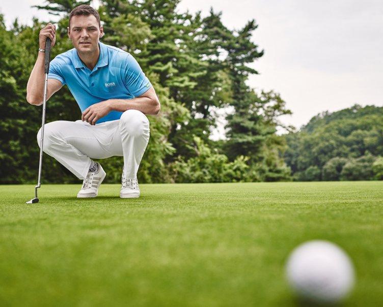 Blaues Golf-Poloshirt und Hose in Natur von BOSS Green