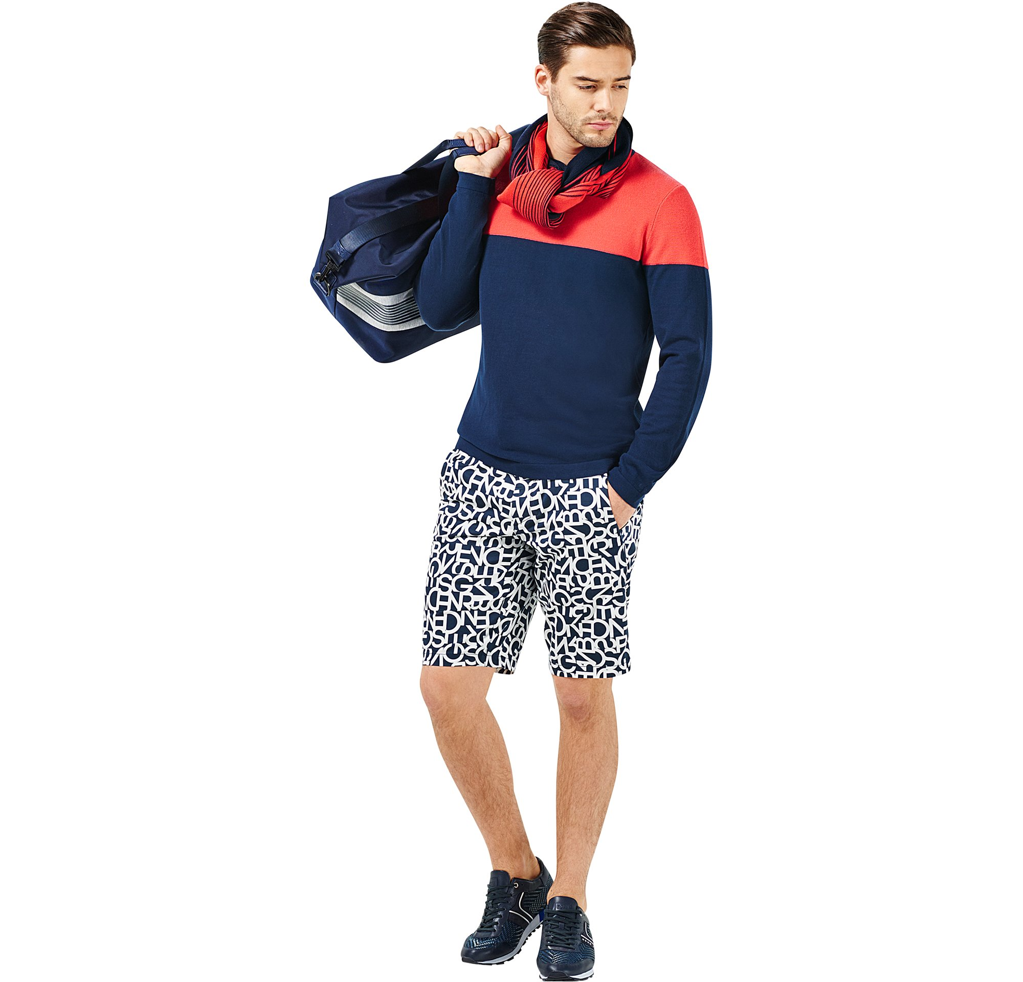 Knitwear, scarf, short trousers and bag by BOSS Green Menswear