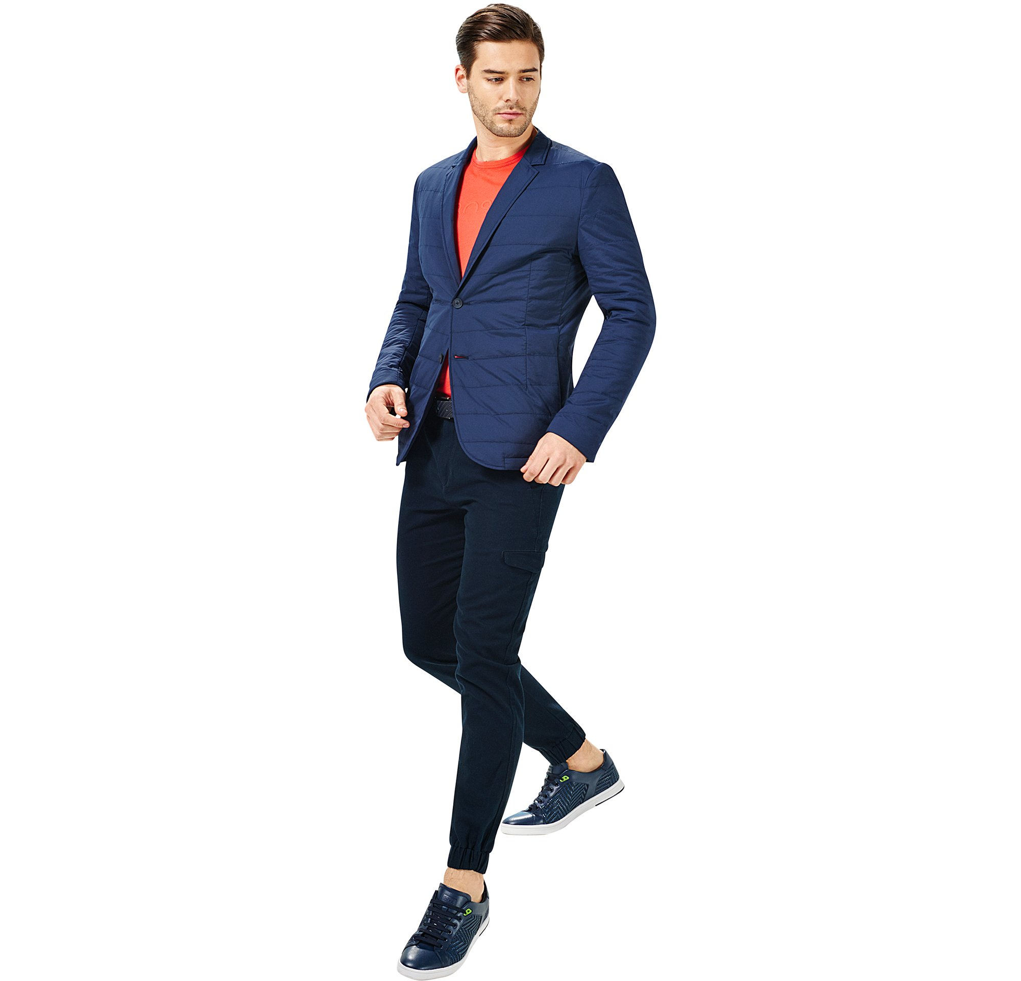 Jacket, jersey, trousers and shoes by BOSS Green Menswear