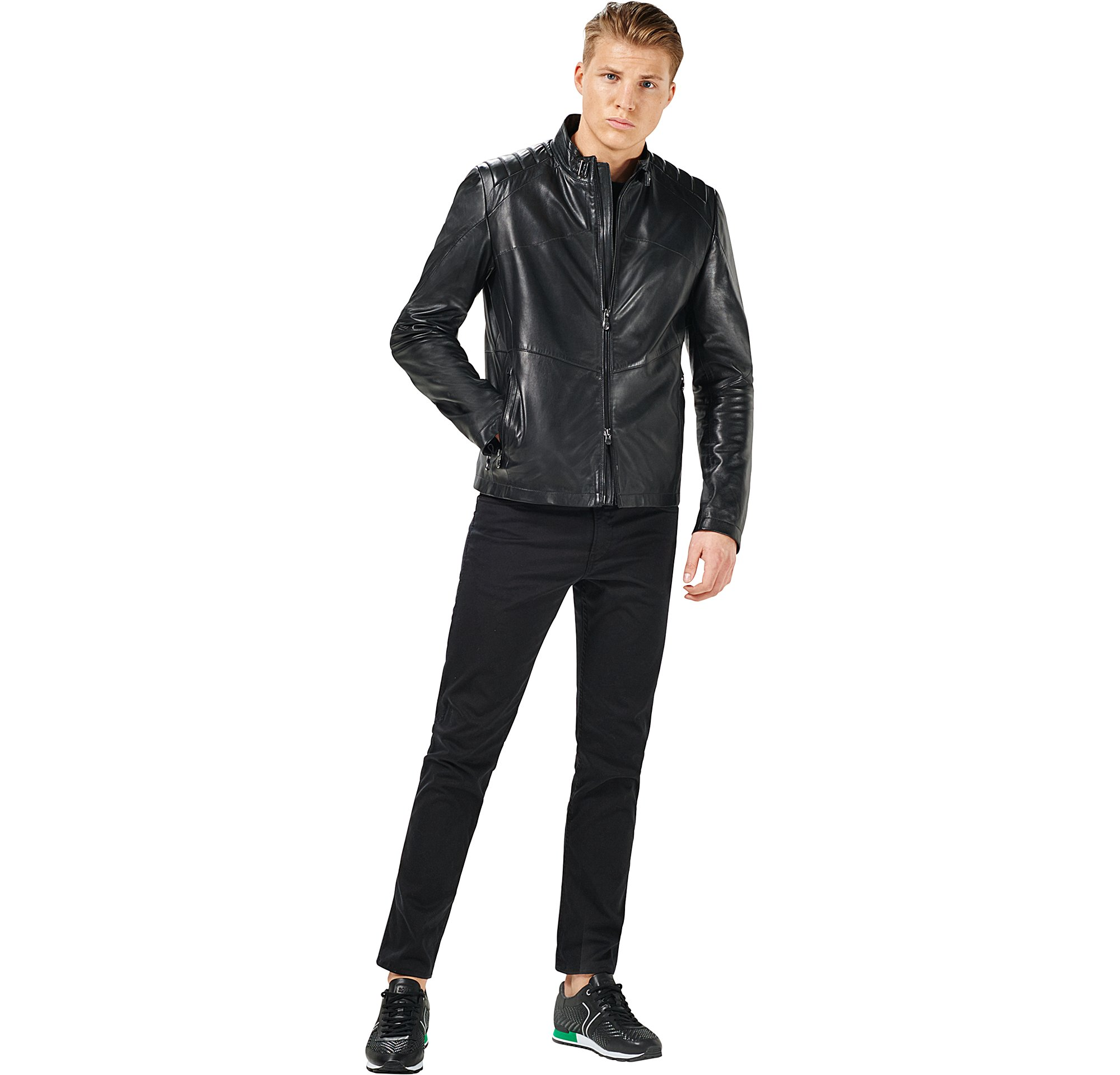 Leather jacket, knitwear, jeans and shoes by BOSS Green Menswear