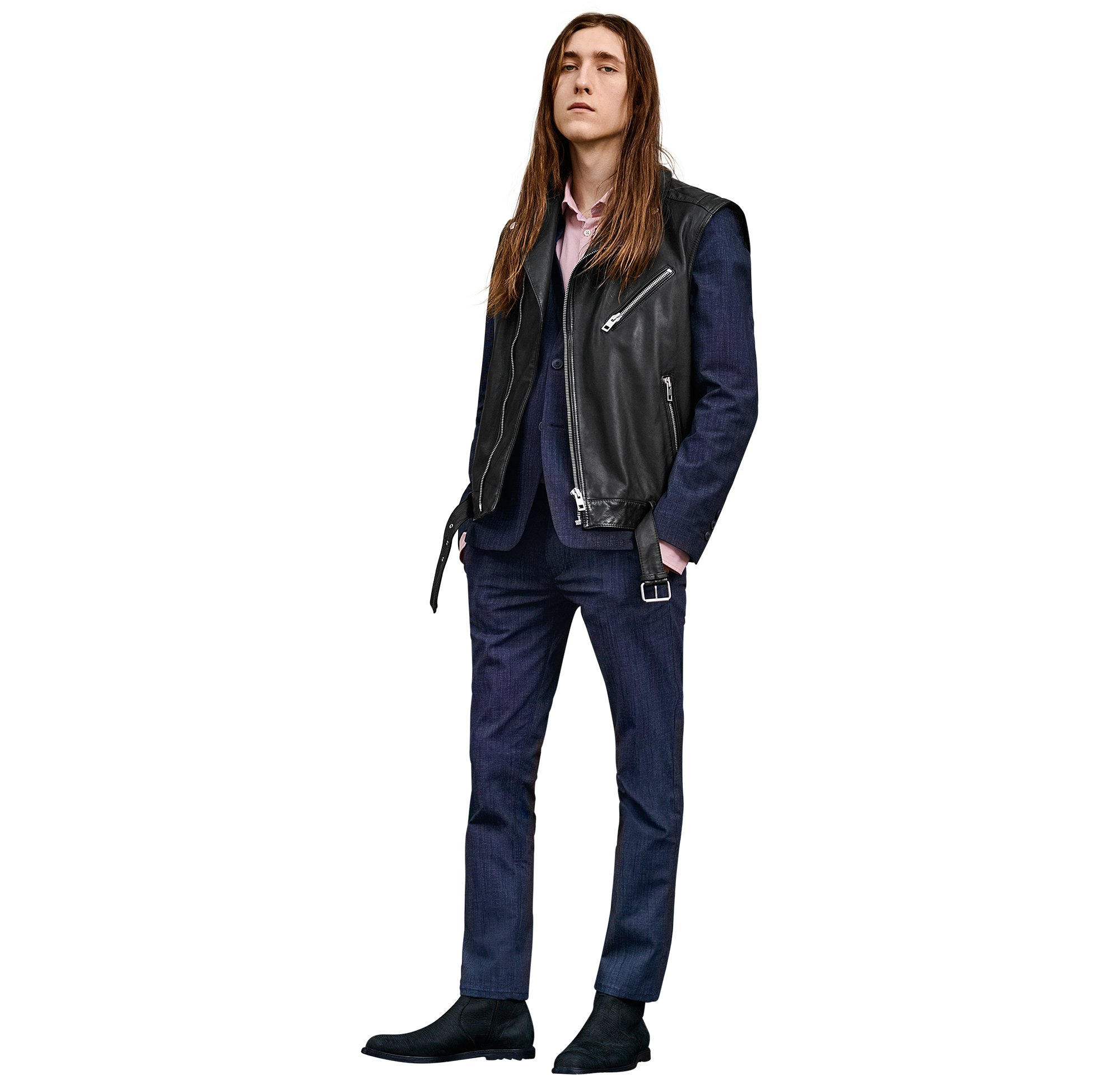 Black leather jacket over blue jacket with blue trousers and black shoes by BOSS Orange