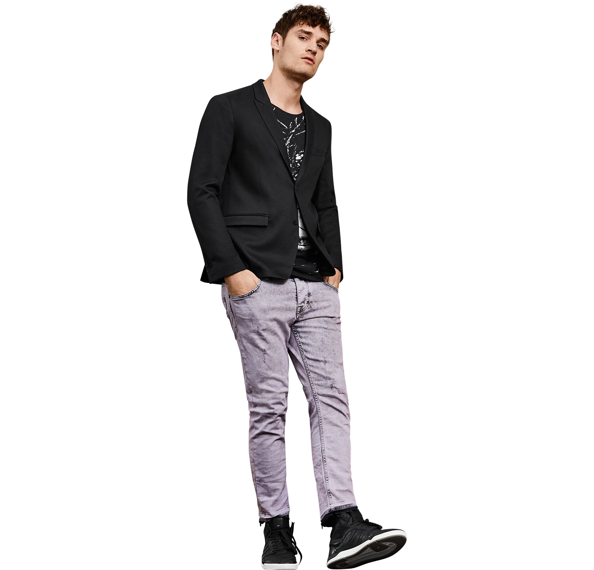 Black jacket over black jersey with pastel jeans and black shoes by BOSS Orange