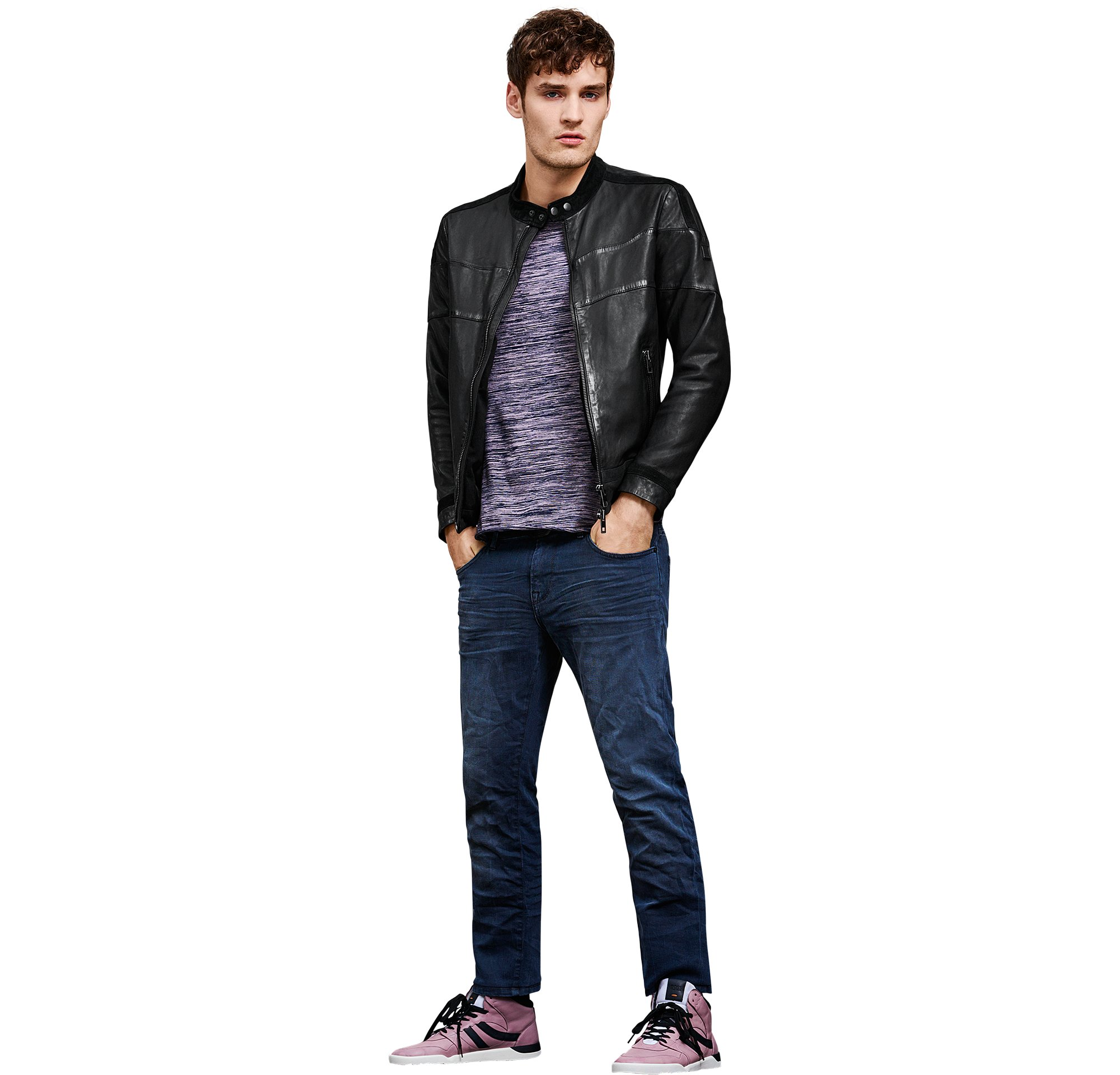 Black leather jacket over blue jersey and shoes by BOSS Orange