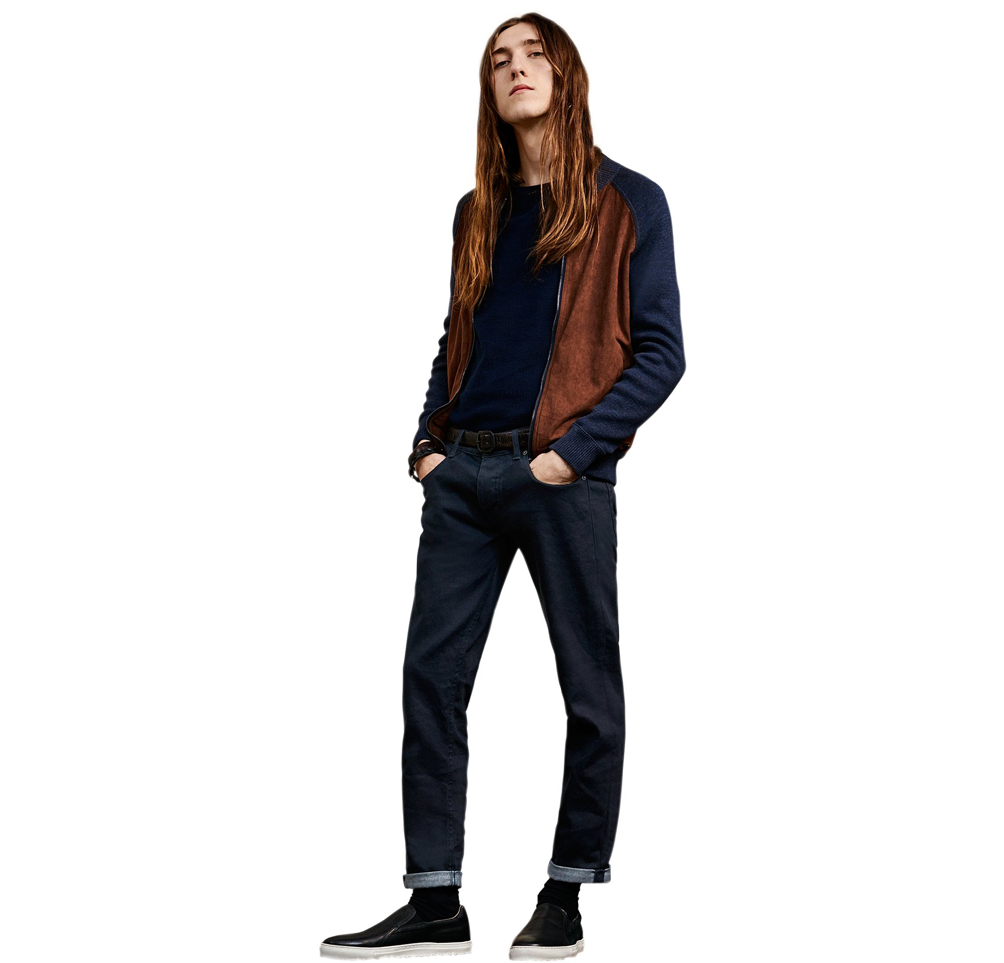 Blue knitwear and jeans with shoes and belt by BOSS Orange