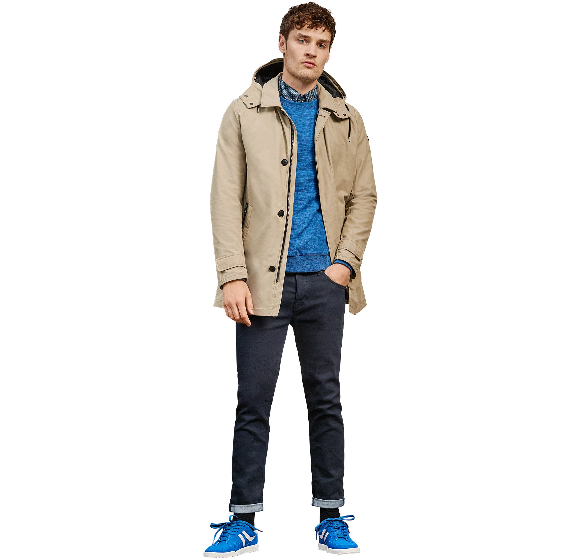 Outerwear over blue jersey and blue shirt with jeans and shoes by BOSS Orange