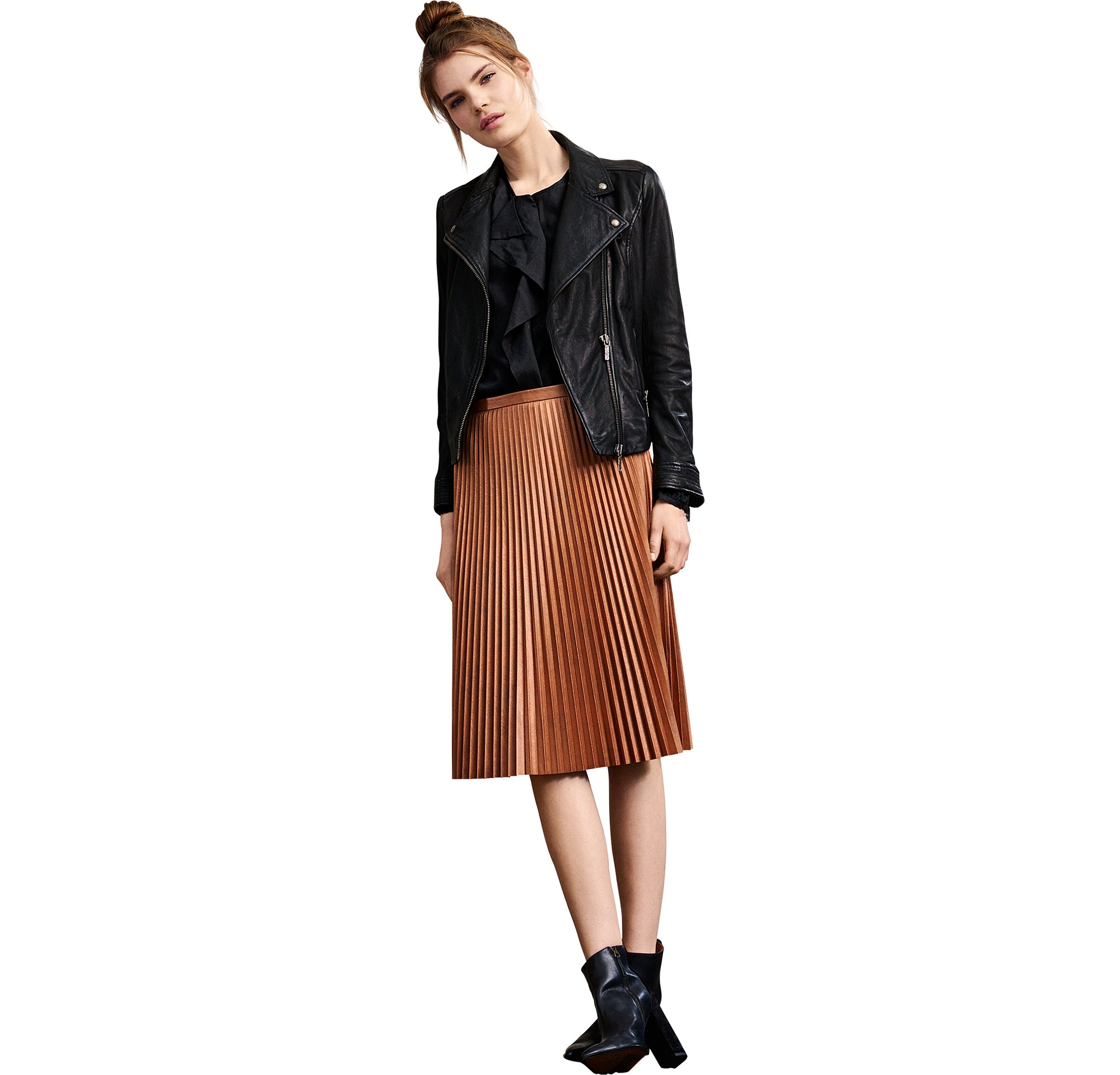 Leren jas, blouse en rok van BOSS Orange Womenswear