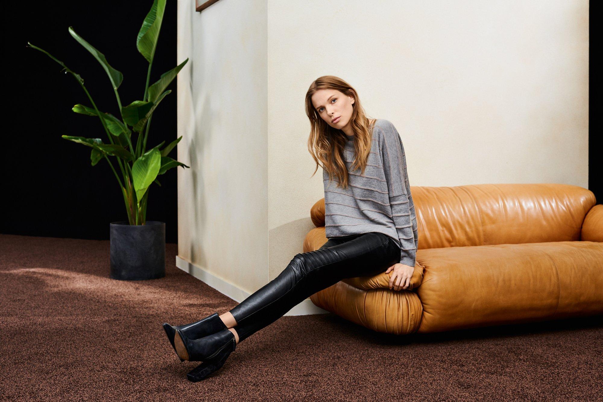 Strick und Lederhose von BOSS Orange Womenswear