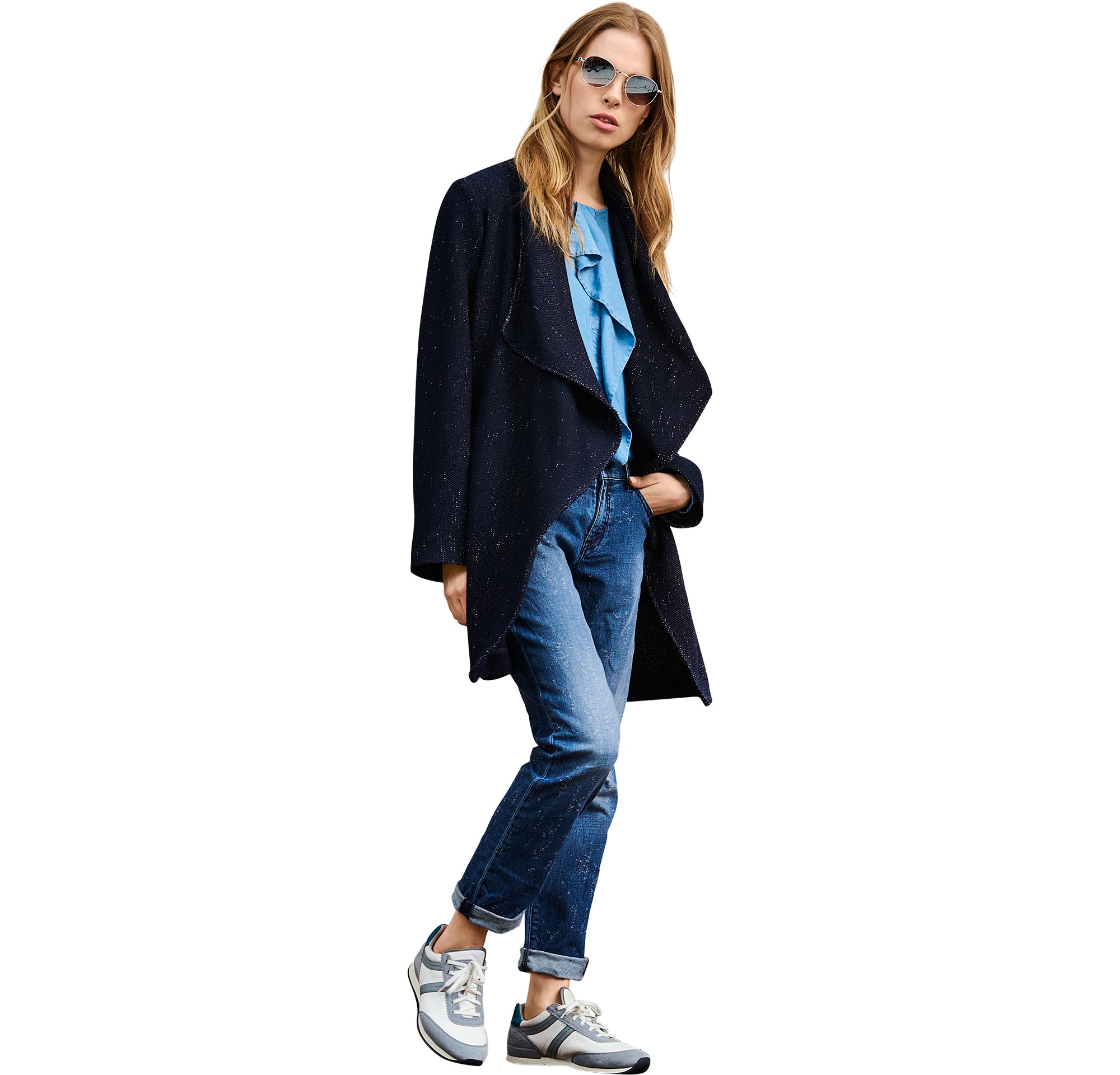 Blue coat over blouse and jeans by BOSS Orange