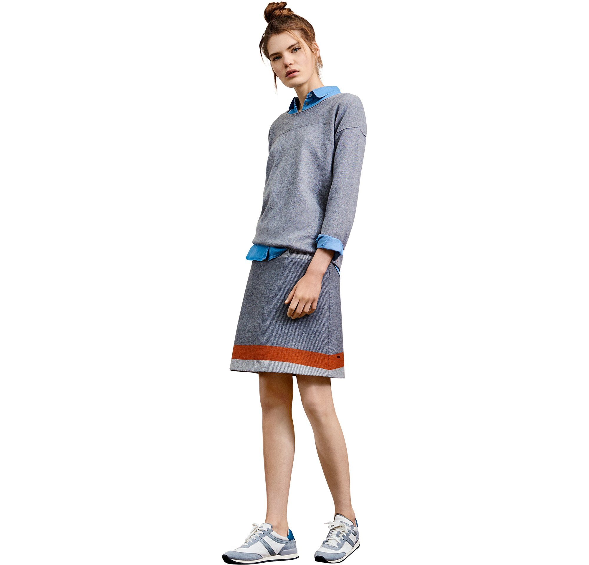 Grey knitwear over blouse and skirt by BOSS Orange