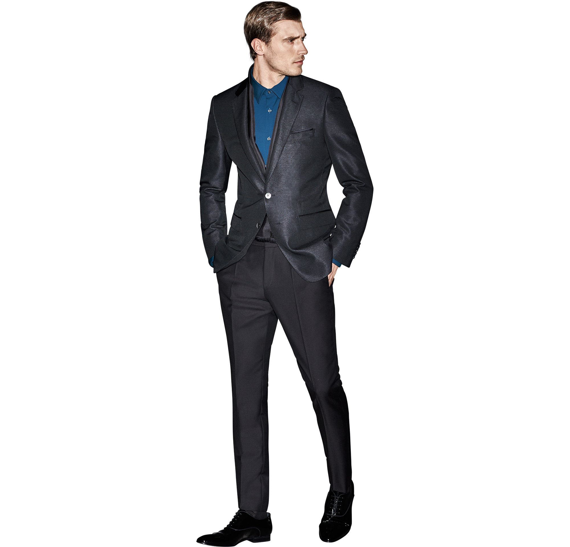 Black jacket over blue shirt and black trousers with black shoes by BOSS