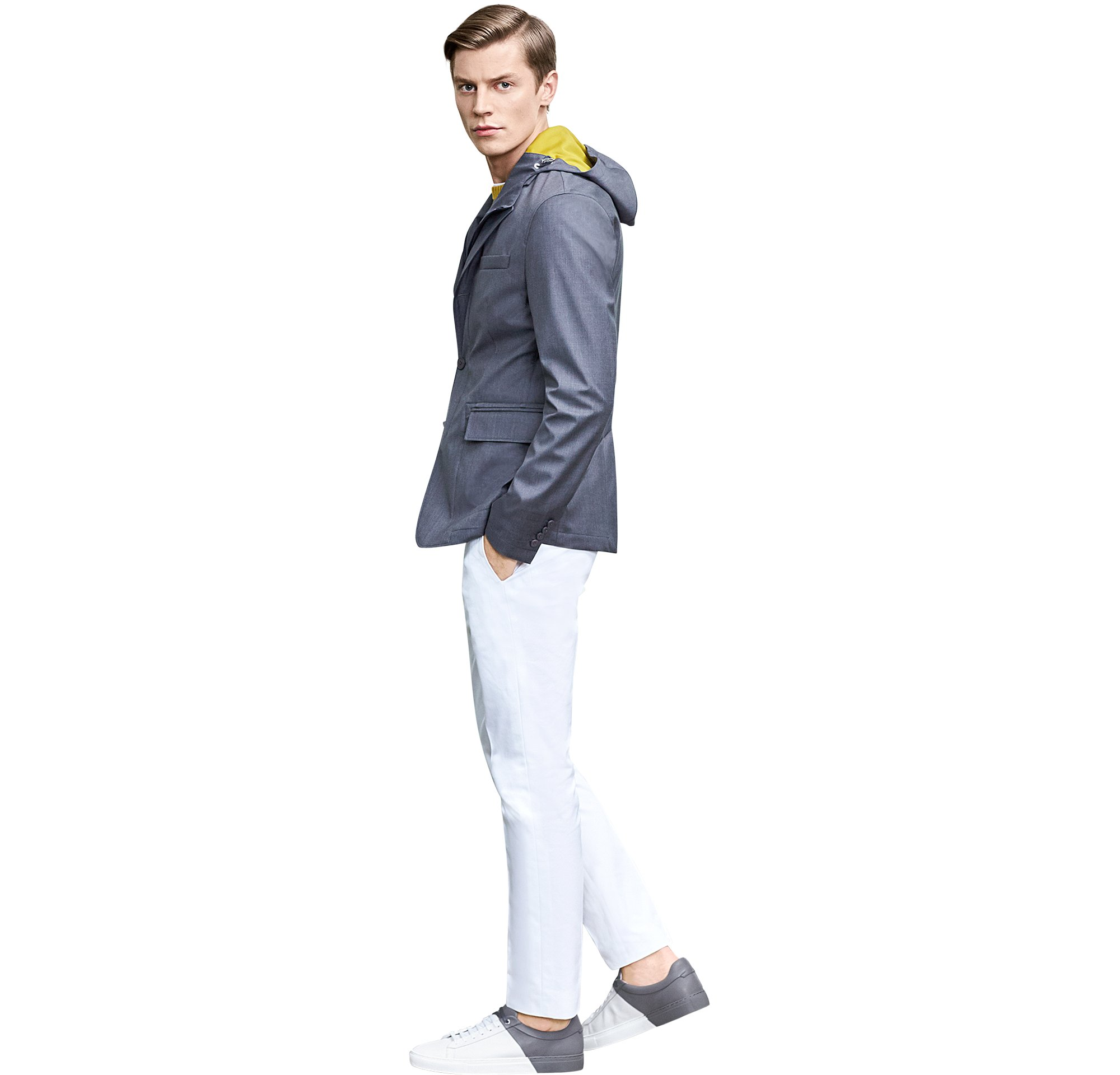Grey jacket over jersey and knitwear with white jeans and sneakers by BOSS