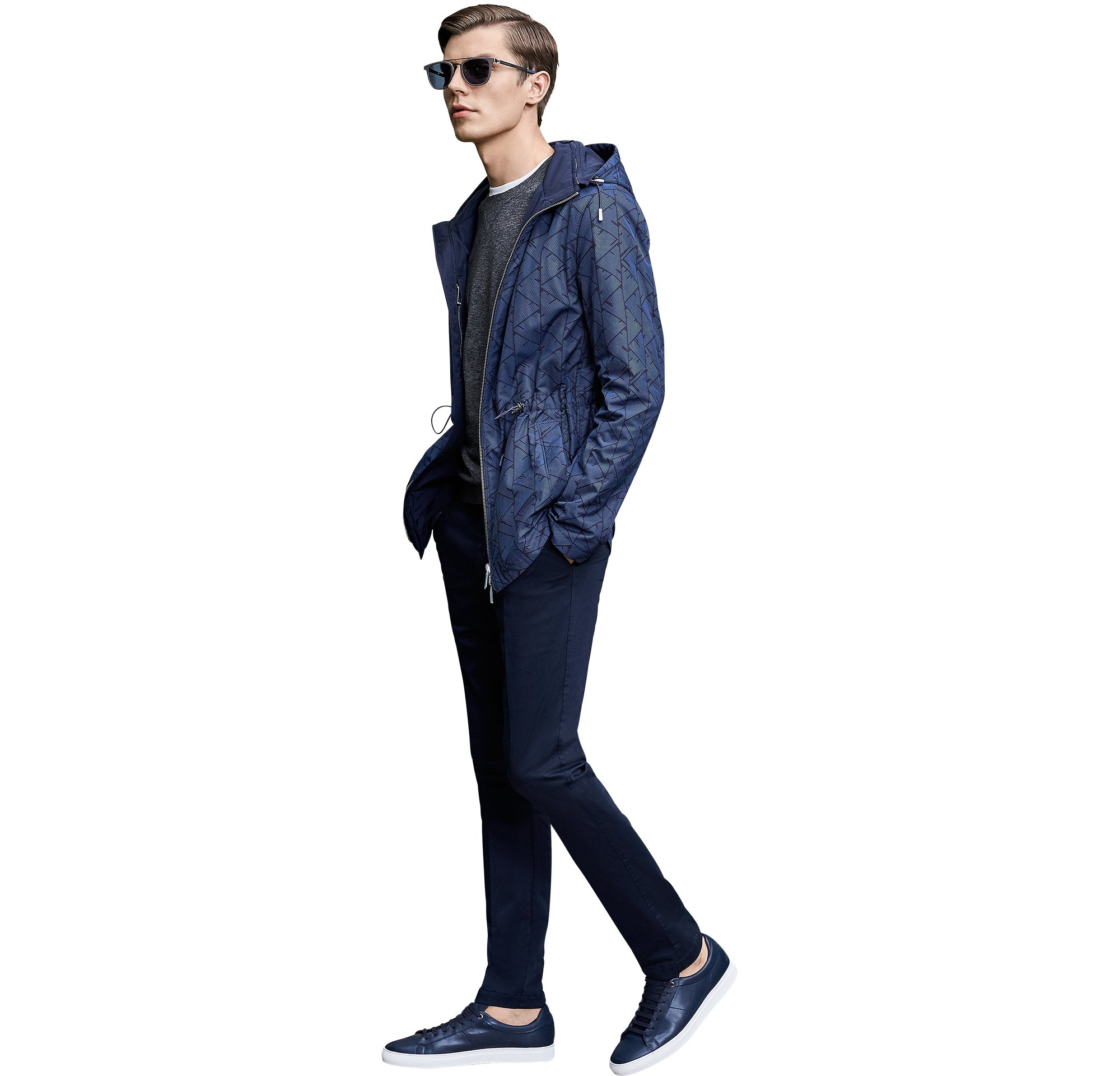 Blue outerwear over jeasey and blue trousers with sneakers by BOSS