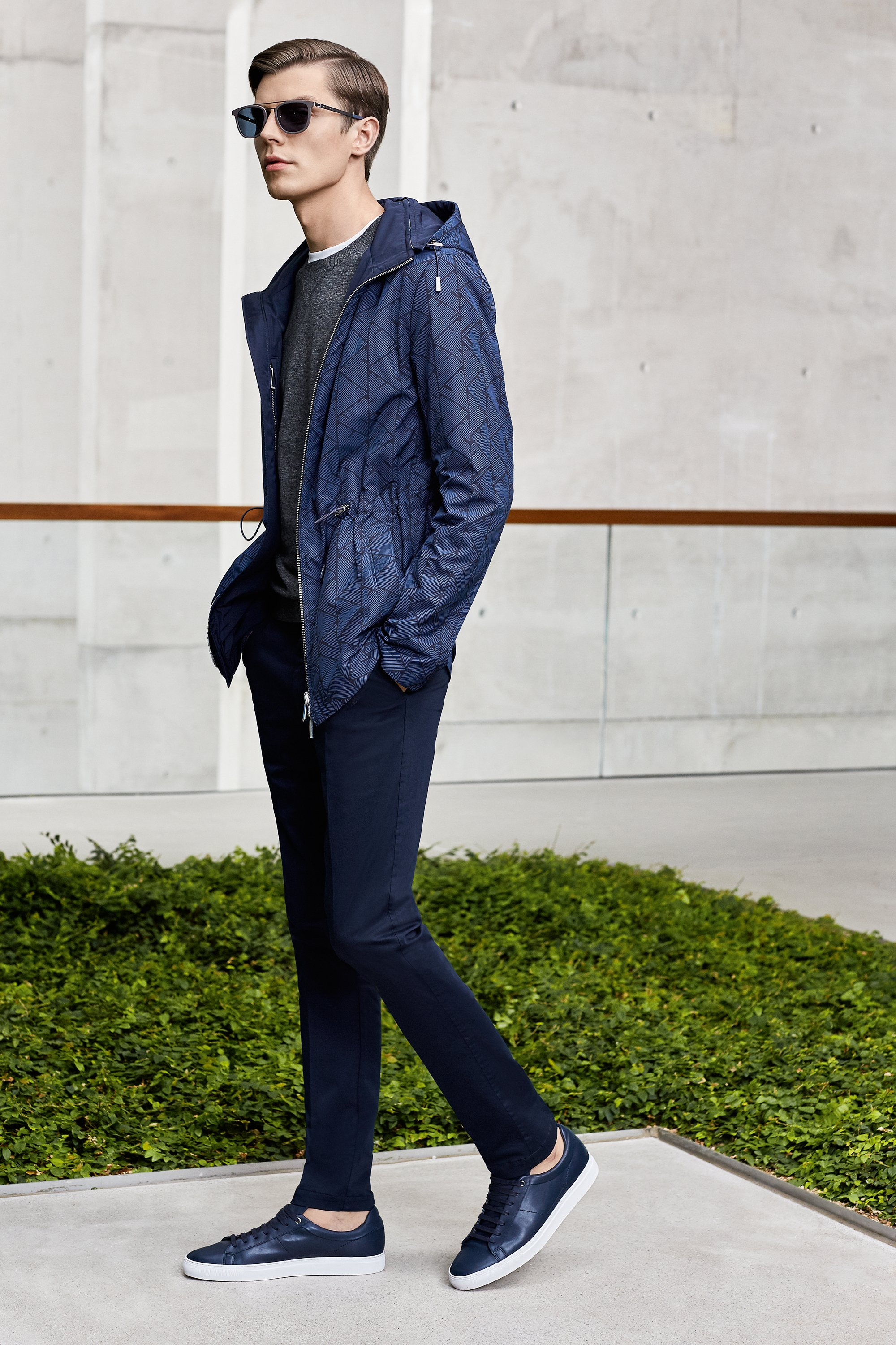 Outerwear, jersey, trousers, shoes and glasses by BOSS