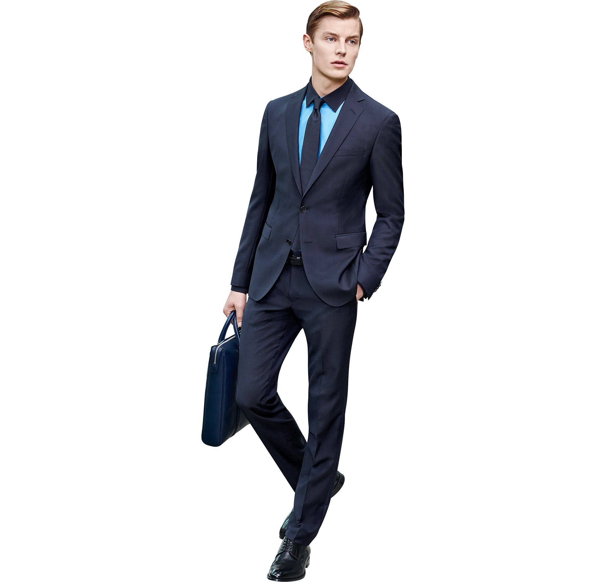 Blue suit over blue shirt with blue tie, bag and shoes by BOSS