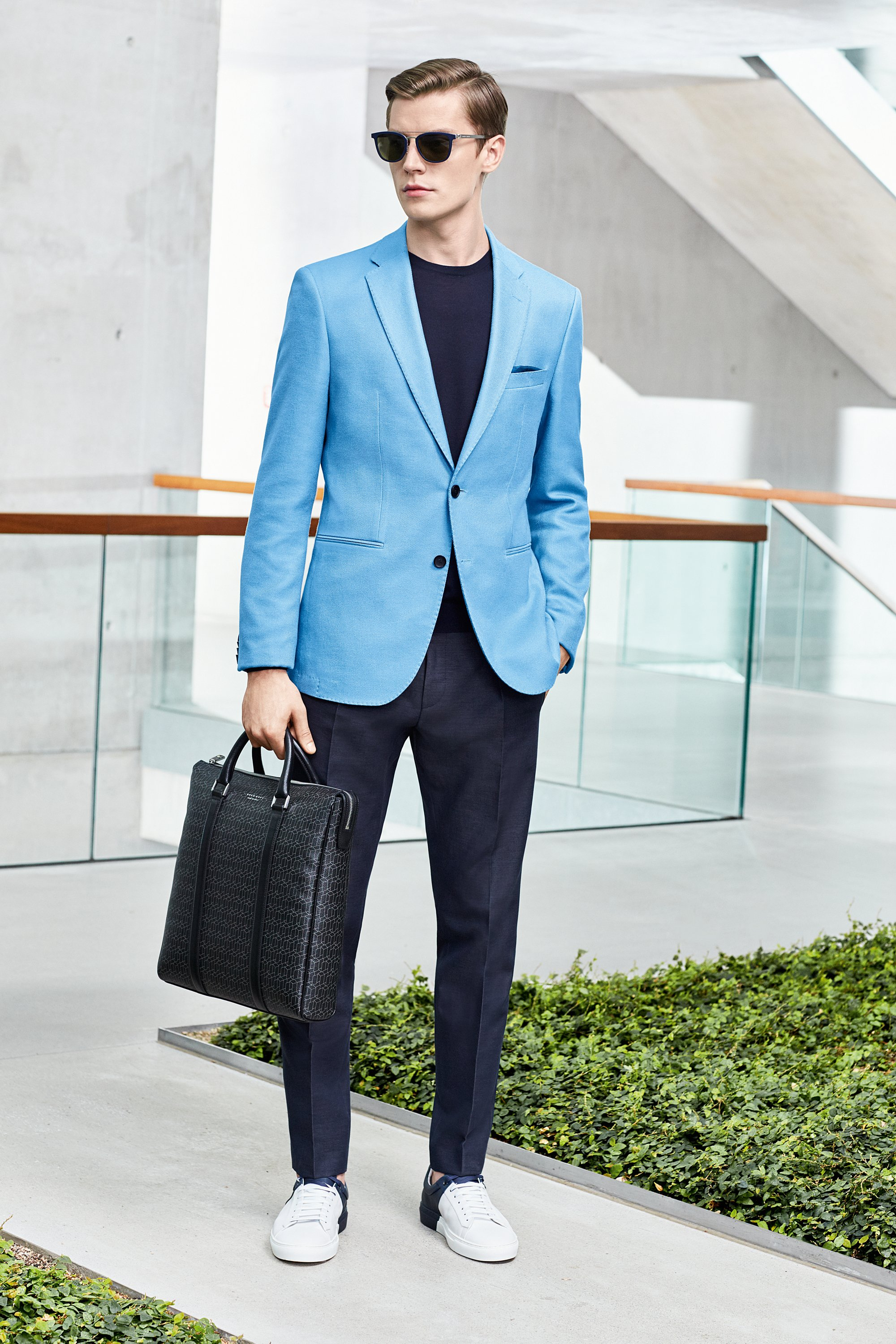 Suit, sunglasses, bag and white sneakers by BOSS
