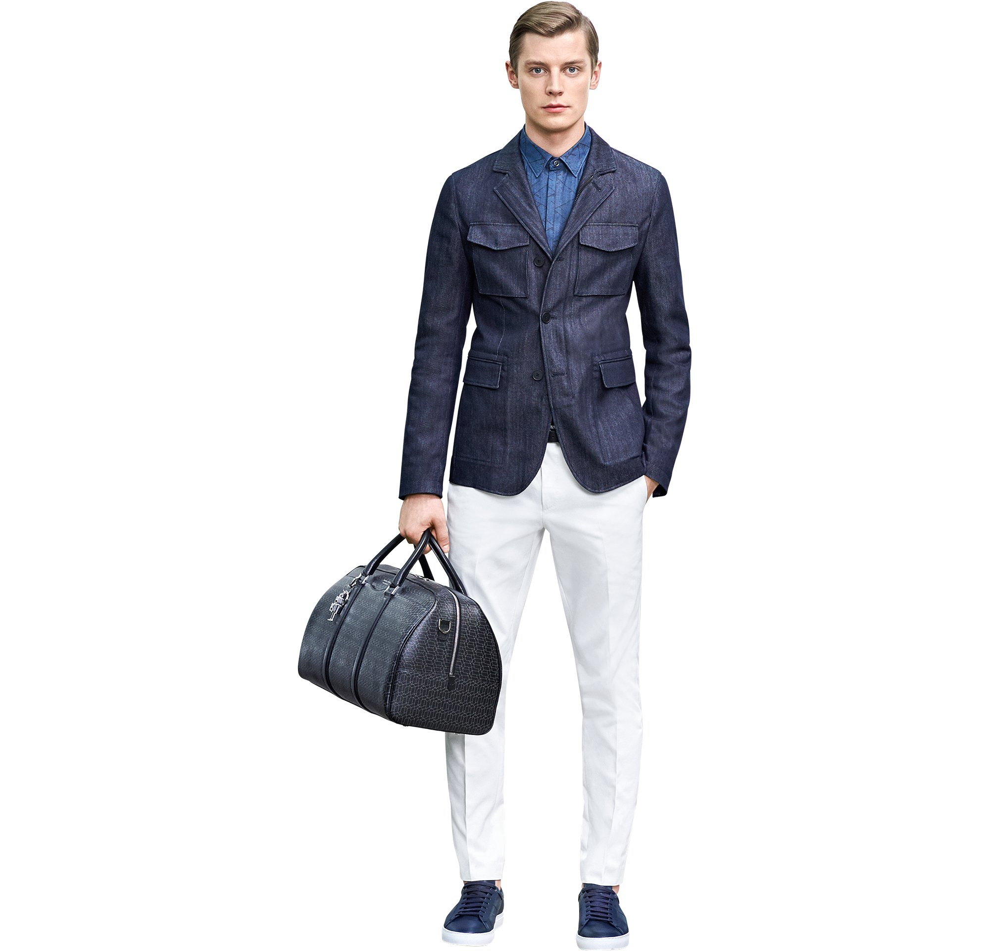 Blue jacket over blue shirt and white jeans with black bag and shoes by BOSS