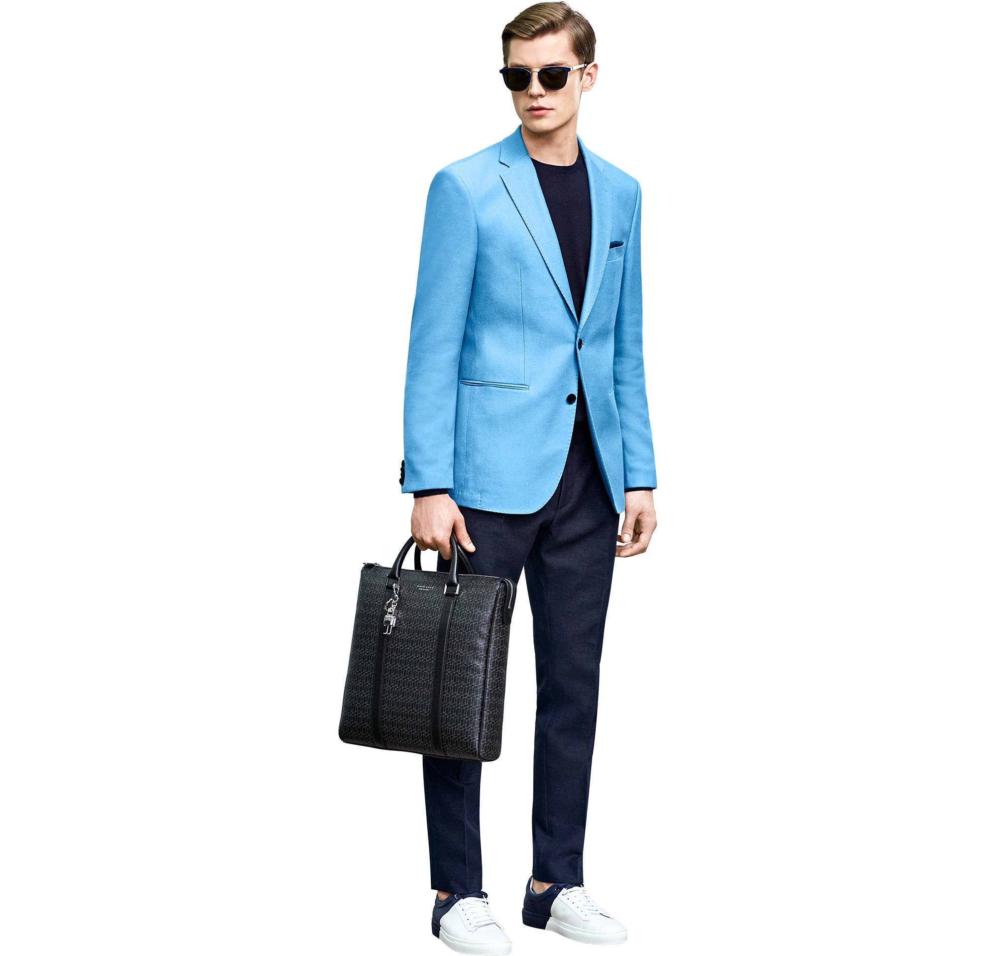 Blue jacket over knitwear and trousers with black bag and shoes by BOSS