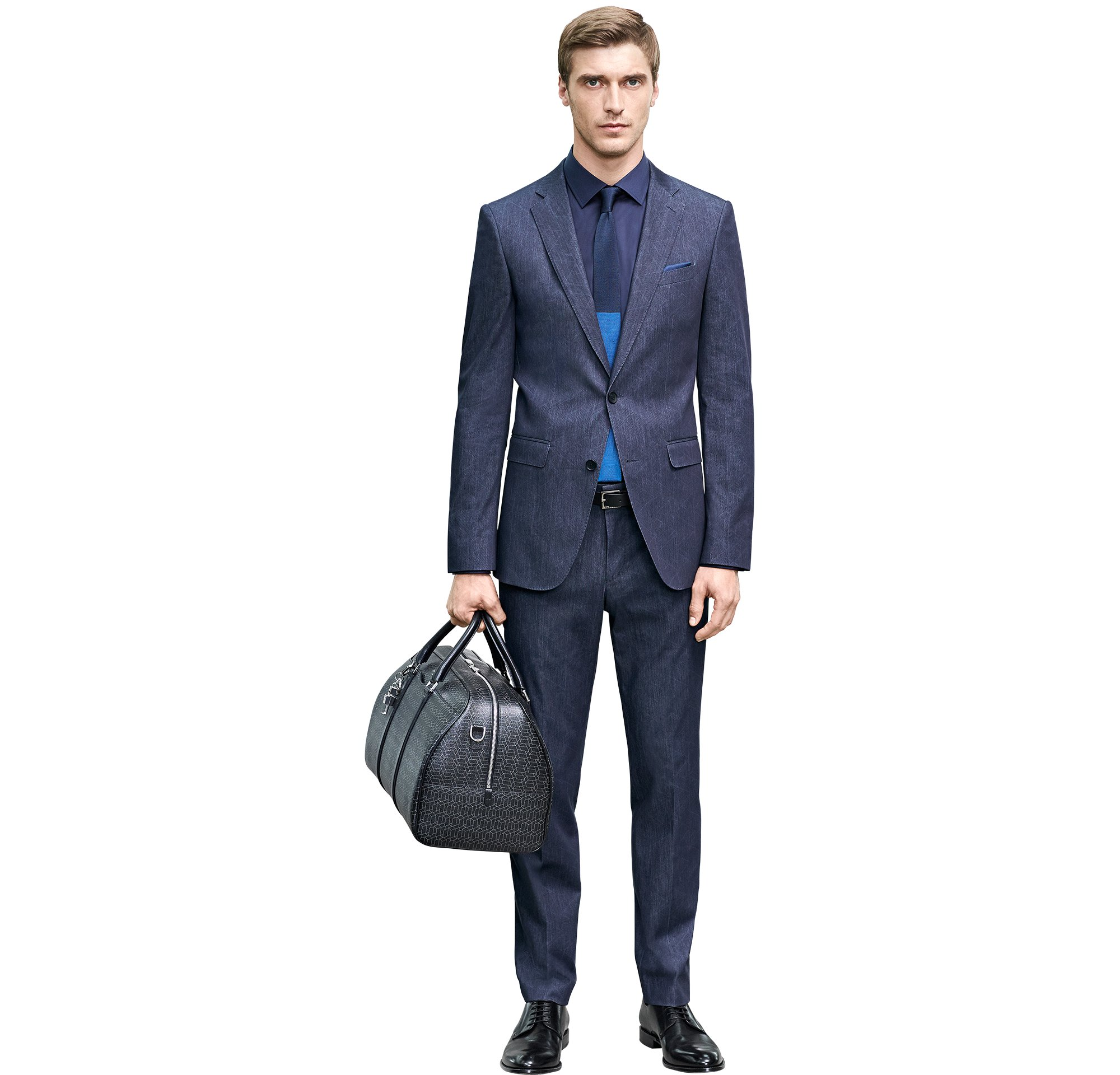 Dark grey suit over shirt with tie, bag and shoes by BOSS