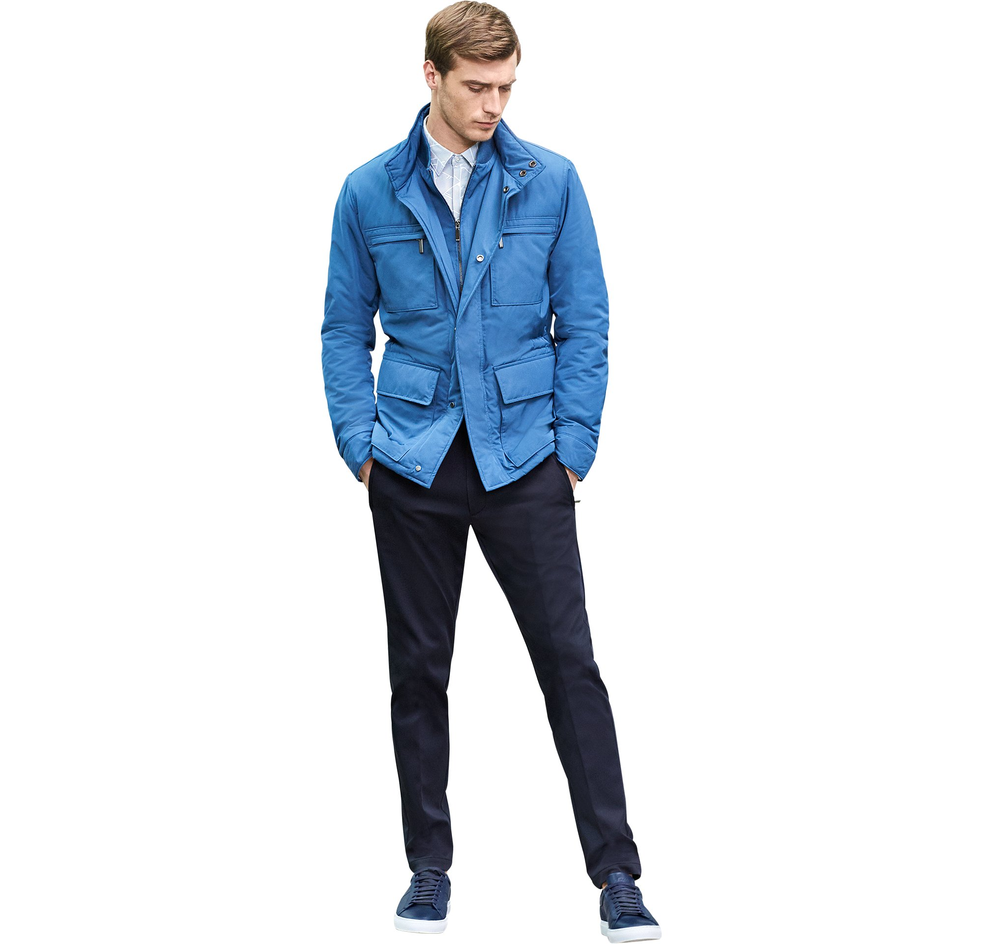 Blue outerwear over white shirt and blue trousers with shoes by BOSS