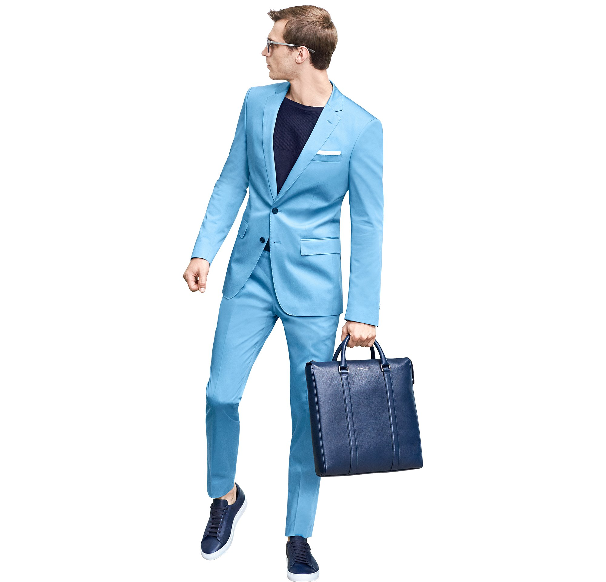 Blue suit over blue knitwear and shoes by BOSS