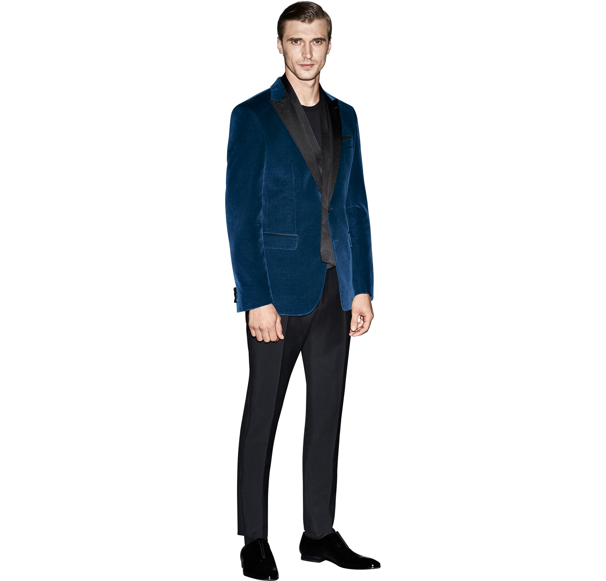 Blue jacket over black knitwear and black trousers with black neckwear and black shoes by BOSS