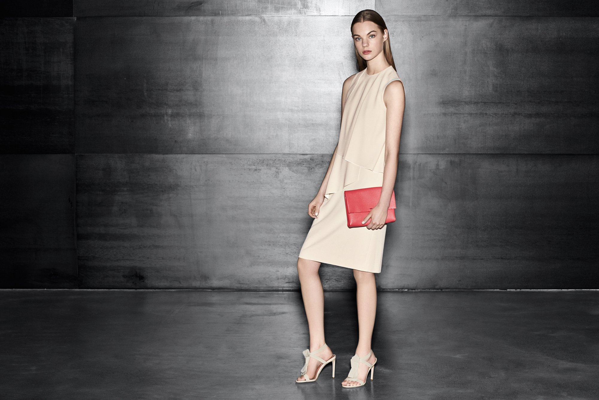 Beige dress with dark pink bag and beige shoes by BOSS