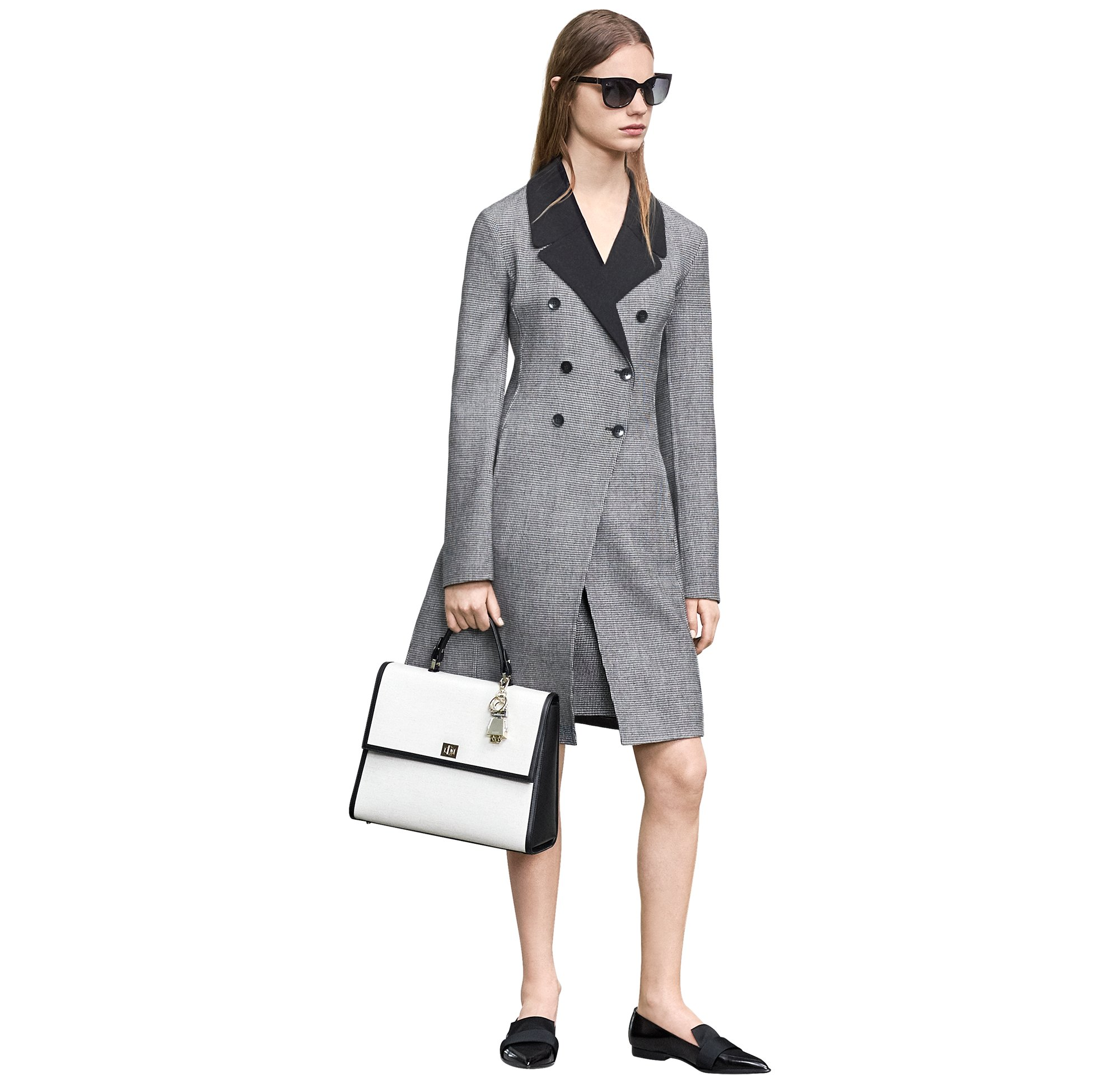 Grey coat over skirt with bag and shoes by BOSS