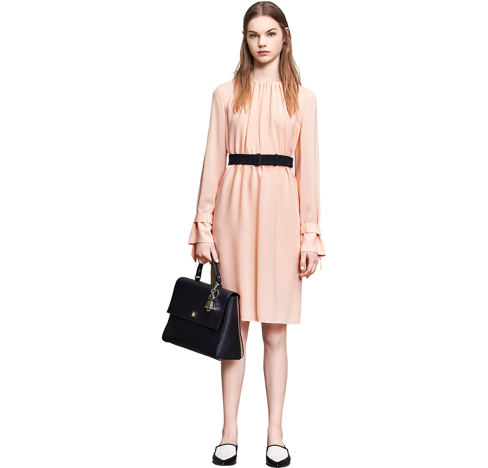 Pastel dress with black bag and shoes by BOSS