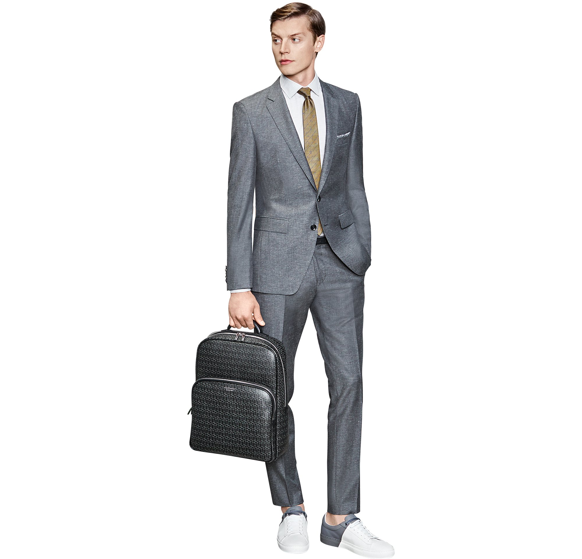 Suit, shirt, trousers, tie, bag and sneakers by BOSS Menswear