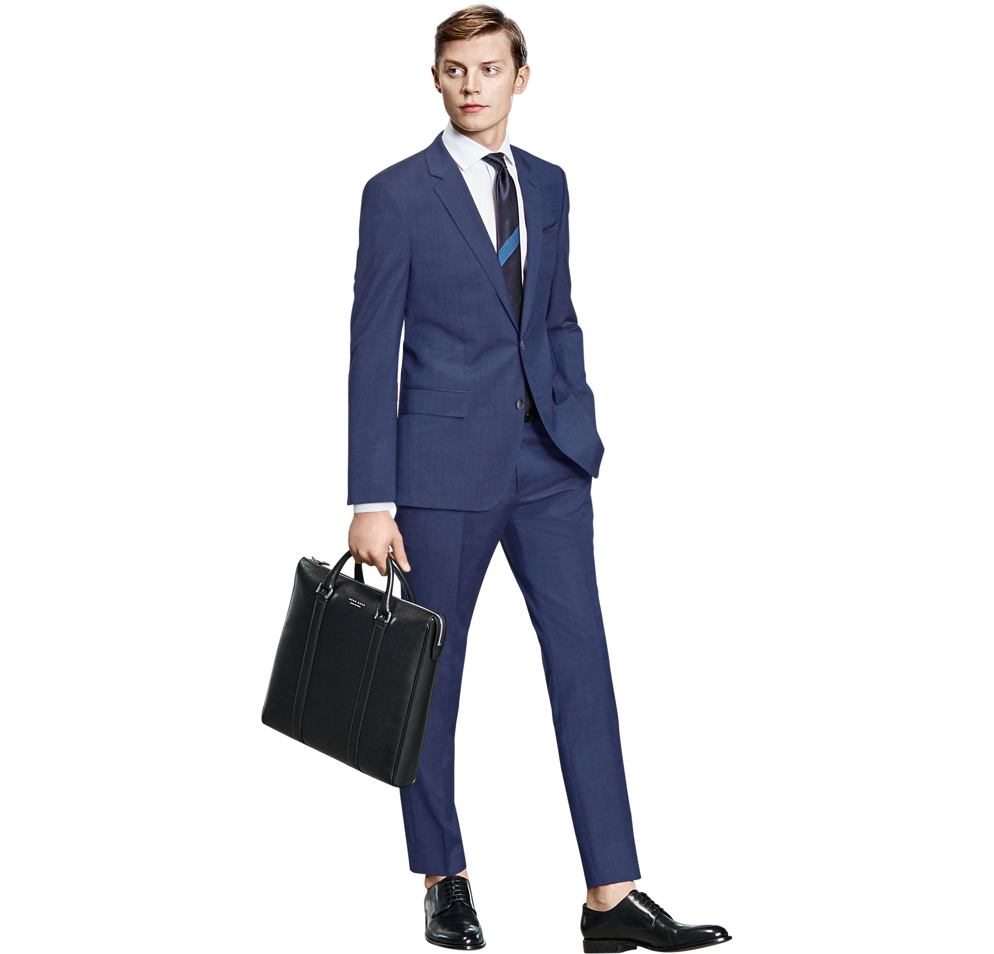 Jacket, shirt, trousers, bag and shoes by BOSS Menswear