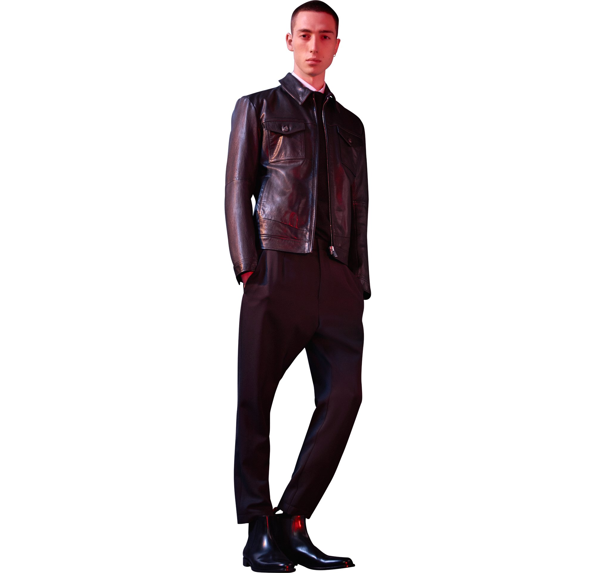 Leather jacket, trousers  by HUGO Menswear