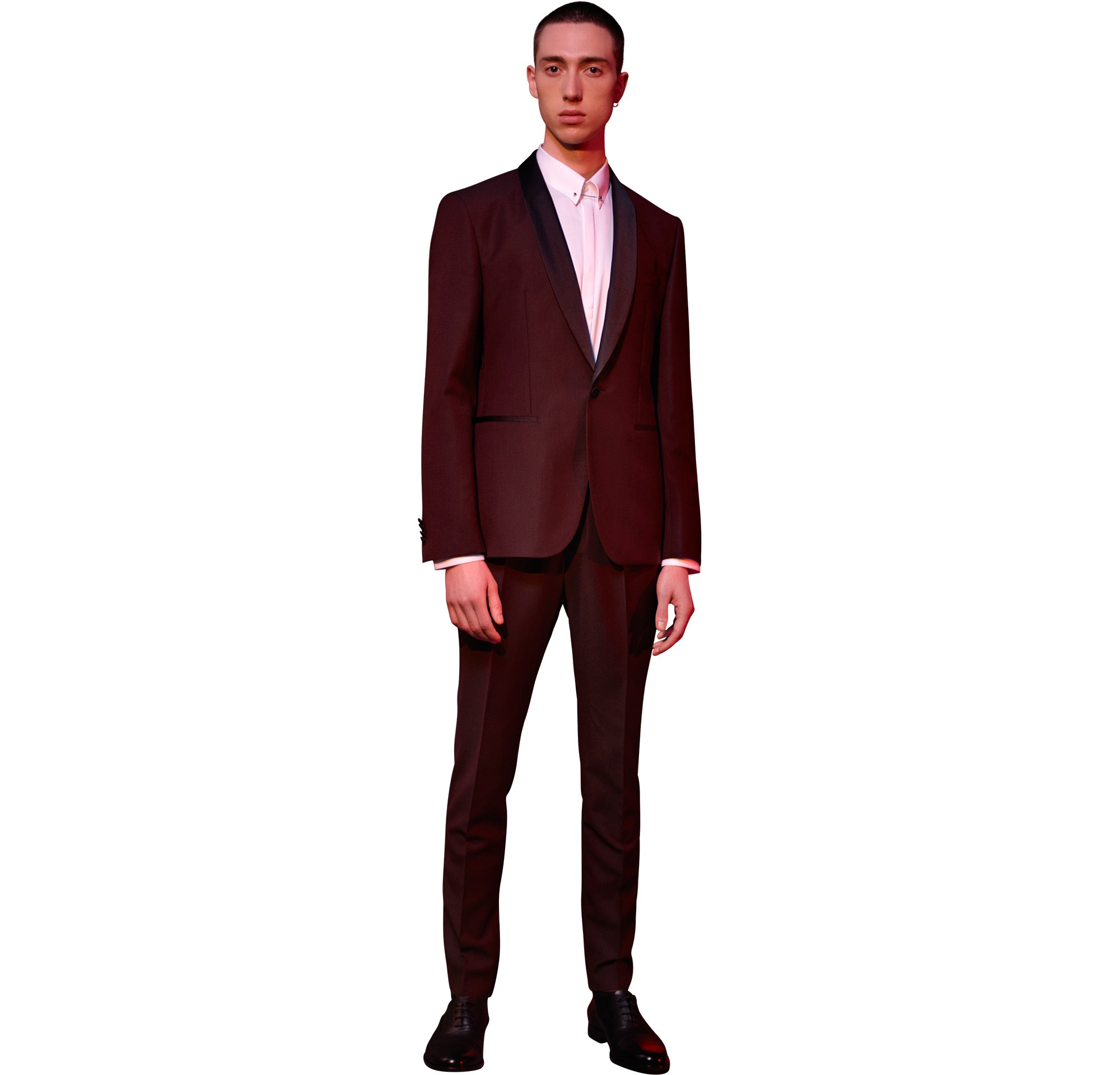 Dark red suit with white shirt and black shoes by HUGO