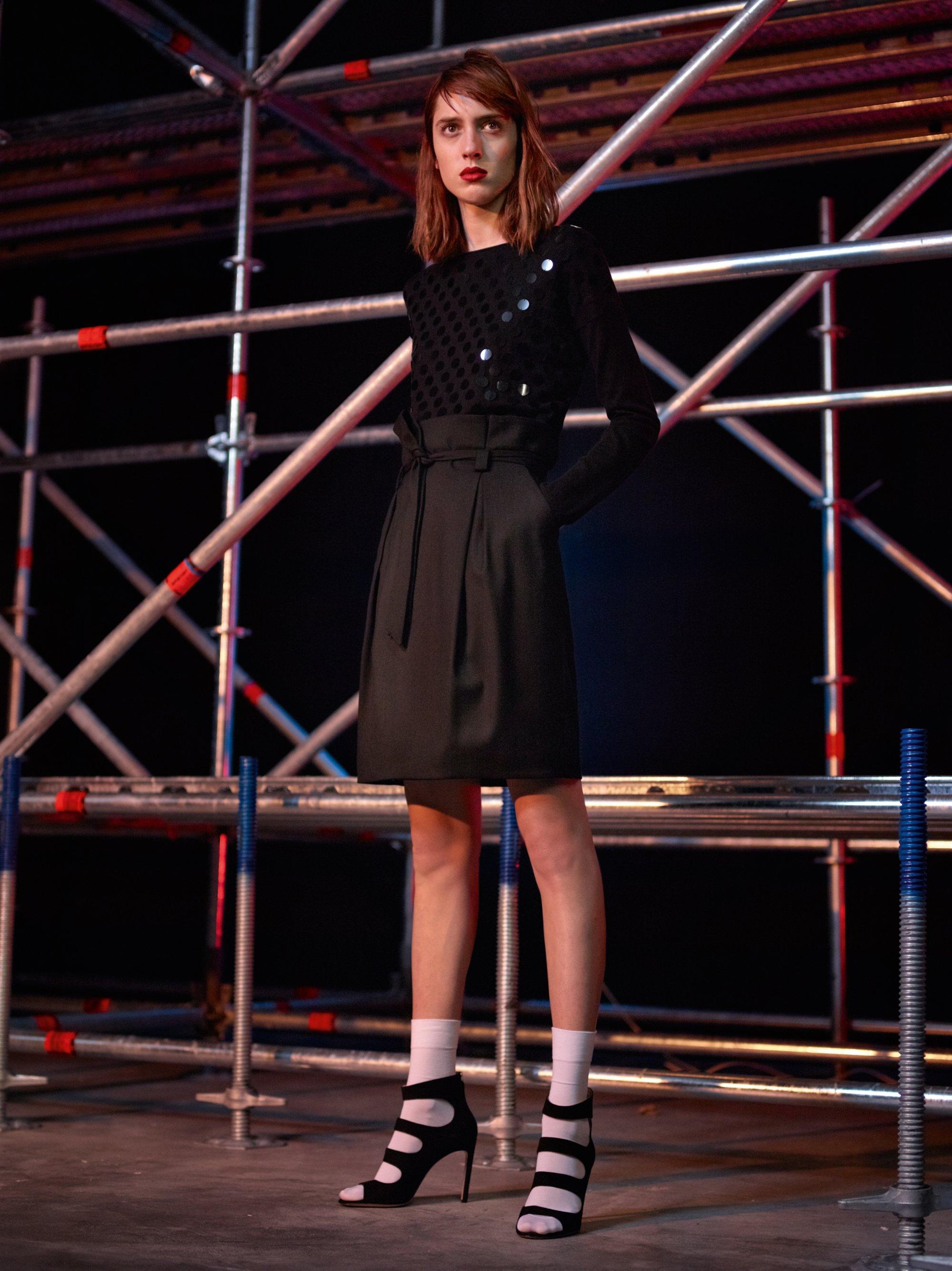 Black knitwear and black skirt by HUGO