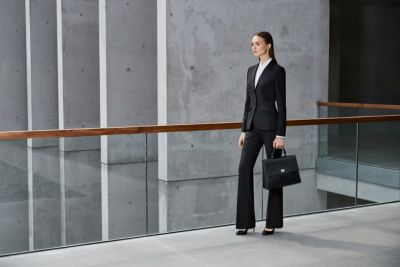 Black suit with white shirt, black bag by BOSS Fundamentals